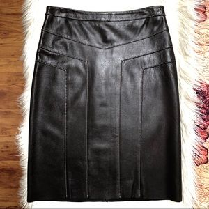 🖤BCBG Genuine Leather Top Stitched Skirt